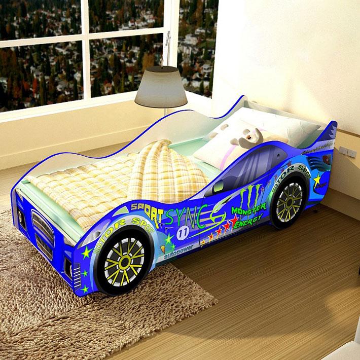 """Детская кровать-машинка """"Спорт-синяя"""""""