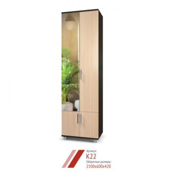 Шкаф Карина К-22 с зеркалом двухстворчатый-фото