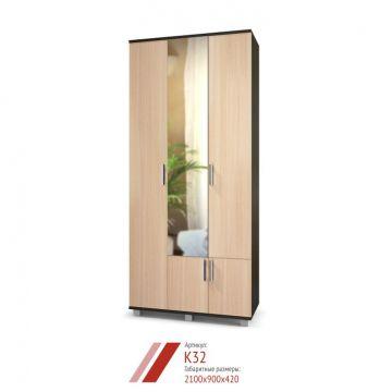 "Шкаф ""Карина"" 3-х створчатый с зеркалом К32-фото"