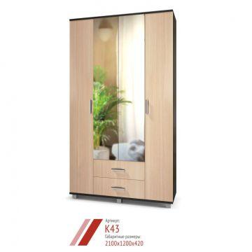 """Шкаф """"Карина"""" 4-х створчатый с зеркалом и выдвижными ящиками К43-фото"""