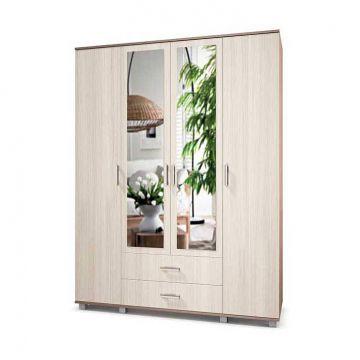 """Шкаф """"Ева"""" 4-х створчатый с зеркалом с выдвижными ящиками Е43-фото"""